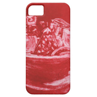 Red Abstract Art Still Life Fruit Bowl Mono Print iPhone 5 Cover