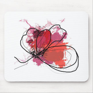 Red Abstract Brush Splash Flower JPEG Mouse Pads