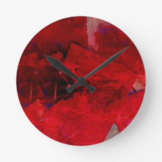 Red Abstract Round Clocks
