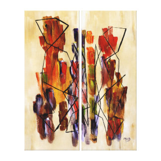 Red Abstract Couple Tribal Multi Panels Painting Stretched Canvas Prints