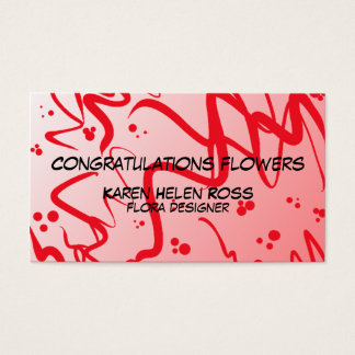 Red abstract design business card