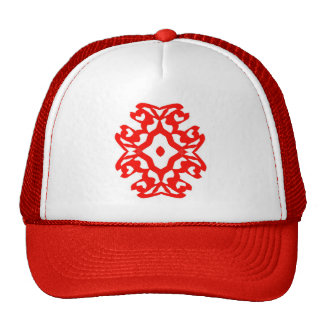 Red abstract design hat