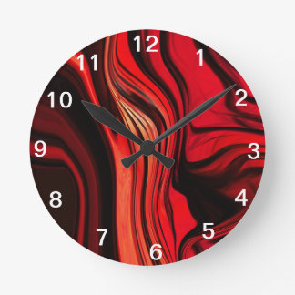 Red Abstract Design Round Clock