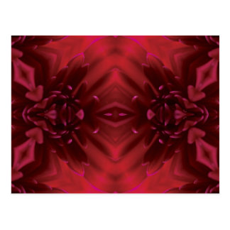 Red Abstract Floral Design Postcard