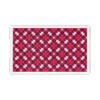 Red Abstract Floral Pattern Acrylic Tray