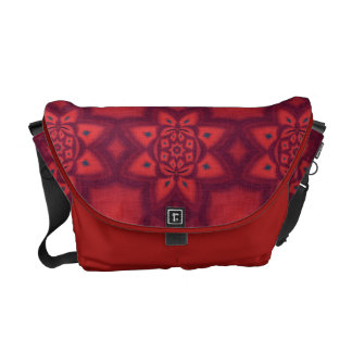 Red Abstract Floral Pattern Commuter Bag