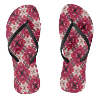 Red Abstract Floral Pattern Flip Flops
