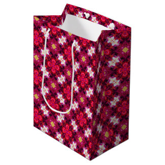 Red Abstract Floral Pattern Medium Gift Bag