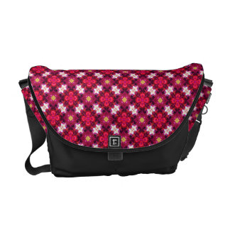 Red Abstract Floral Pattern Messenger Bag