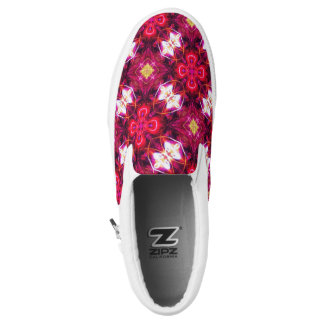 Red Abstract Floral Pattern Slip On Shoes
