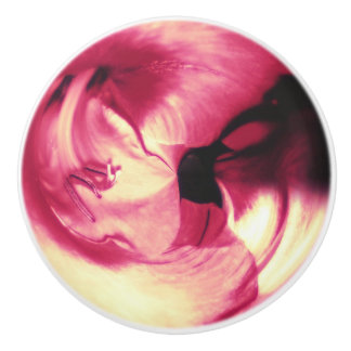 Red Abstract Flower Ceramic Knob