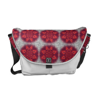 Red Abstract Flower Pattern Courier Bag