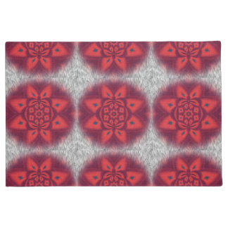 Red Abstract Flower Pattern Doormat