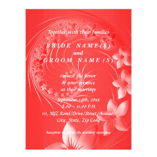 Red Abstract Flowers Custom Announcement