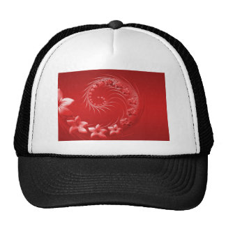 Red Abstract Flowers Trucker Hat