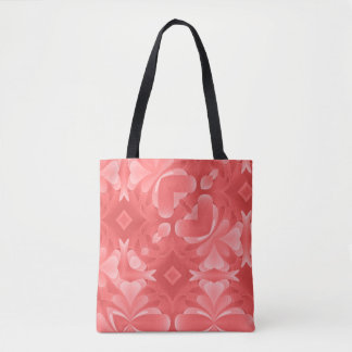 Red Abstract Hearts and Diamonds Tote Bag