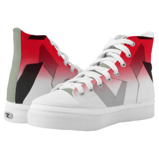 RED ABSTRACT HIGH TOP PRINTED SHOES