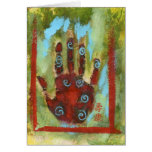 Red Abstract Meridian Hand Greeting Card