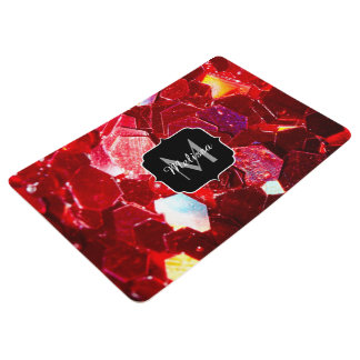Red abstract mosaic shiny glitter pattern Monogram Floor Mat