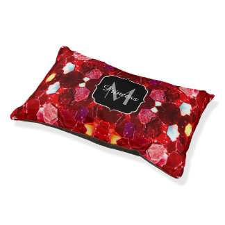 Red abstract mosaic shiny glitter pattern Monogram Pet Bed