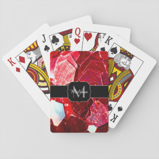 Red abstract mosaic shiny glitter pattern Monogram Playing Cards