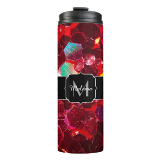 Red abstract mosaic shiny glitter pattern Monogram Thermal Tumbler