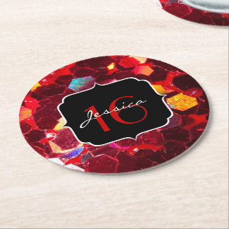 Red abstract mosaic shiny glitter pattern Sweet 16 Round Paper Coaster