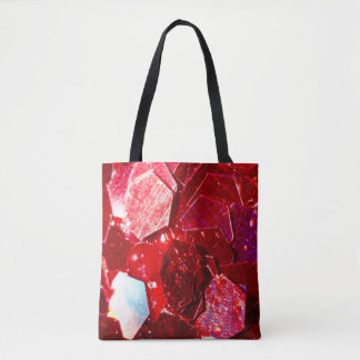 Red abstract mosaic shiny glitter pattern tote bag