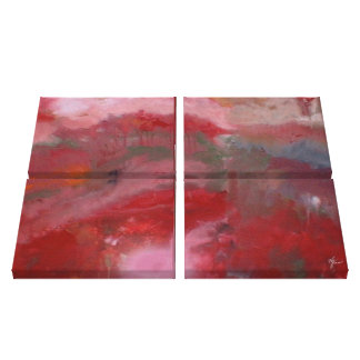 Red Abstract on canvas#2 - Quad (signed 2) Canvas Print