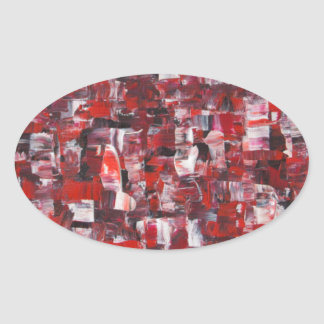 Red Abstract Oval Sticker