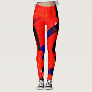 Red Abstract Paint Leggings