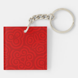 Red Abstract Pattern Acrylic Keychain