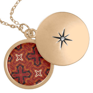 Red abstract pattern necklace