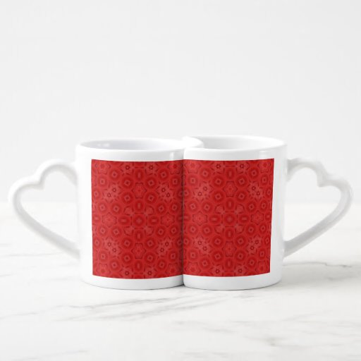 Red abstract pattern lovers mugs