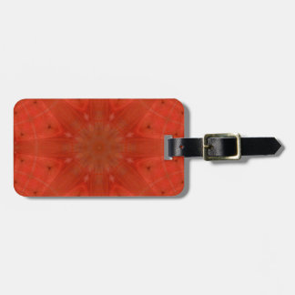 Red abstract pattern wood bag tag