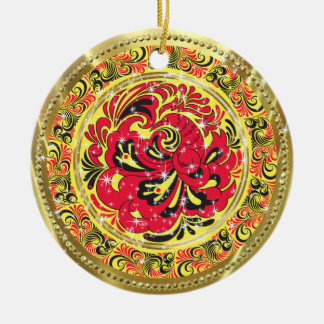 Red Abstract Phoenix Bird-Gold & Sparkles Christmas Ornament