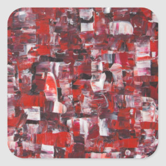 Red Abstract Square Sticker