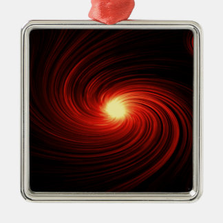 Red abstract swirl Silver-Colored square decoration