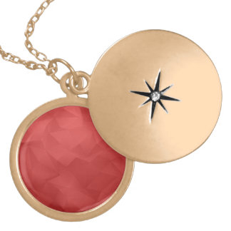 Red abstract triangles round locket necklace