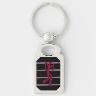 Red Abstract Wacky Dancer Silver-Colored Rectangle Key Ring