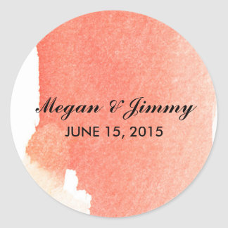 red abstract watercolor wedding stickers