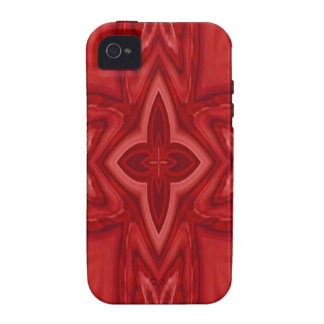 Red abstract wood cross case for the iPhone 4