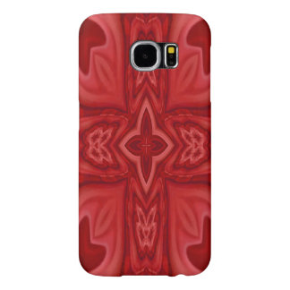 Red abstract wood cross samsung galaxy s6 cases