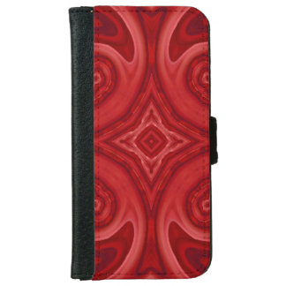 Red abstract wood pattern iPhone 6 wallet case