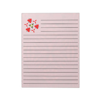 Red abstract wood Pattern Notepad