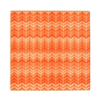 Red abstract zigzag textile pattern wood coaster