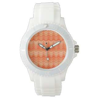 Red abstract zigzag textile pattern wristwatch
