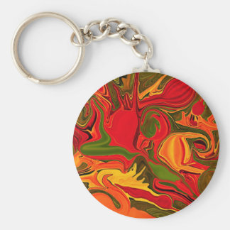 Red abstraction of fire light key ring basic round button key ring
