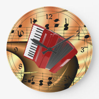 Red Accordion Abstract Design Large Clock