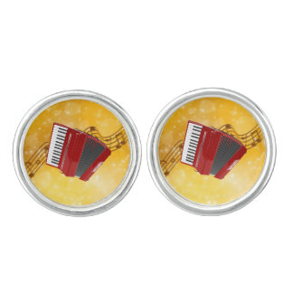 Red Accordion and Musical Notes Cuff Links